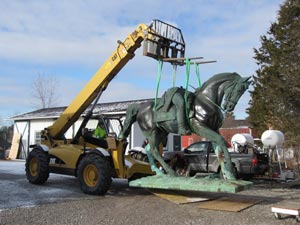 The horse is brought outside to judge the effects in natural light and to test the removal of the BronzeShield.